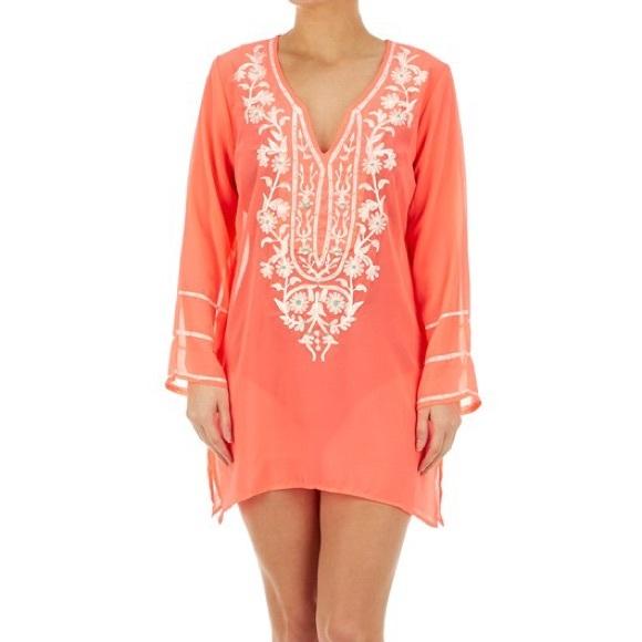 f958e307c8 Swim | Bright Coral Embroidered Wear Cover Up Nwt | Poshmark